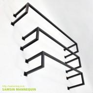 [주문품,용접형] 각ㄷ자 벽면행거 검정-14236