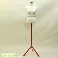 여자우레탄(백색)+컬러풀 일자 삼발이(빨강) -5076